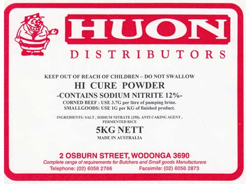 Huon Distributors - Meat and Food Industry SuppliersHi-Cure 5Kg