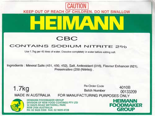 Huon Distributors - Meat and Food Industry SuppliersC B C  Cure 1 7Kg